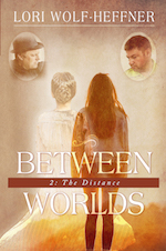 """Cover image for """"Between Worlds 2."""" Brown tones. Two teens have their backs to you. The one on the left has her hair pulled into braids and a bun. She's wearing an old farm dress. The other has her long hair hanging down her back. She's wearing a jean jacket and leggings. Above the first teen is the image of a father wearing a black hat and black clothing. Above the teen on the right is the image of a father with a short haircut and a gruff look."""