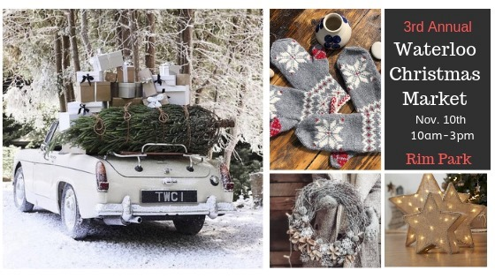 Various grey-toned Christmas images: of a car transporting a tree; some mittens; and a wreath. For the Waterloo Christmas Market