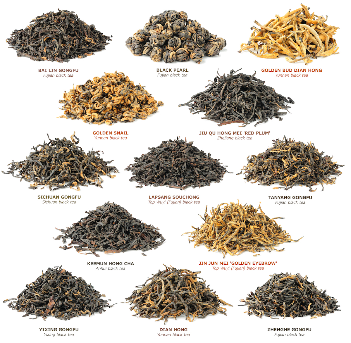 Piles of different types of black tea leaves